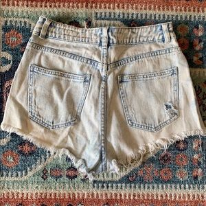 Distressed jean mom shorts